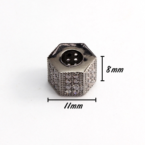Cubic Zircon Pave Hexagonal bead, 8x10x11mm, hole: 5mm, gunmetal, No glue and nickel free, 1 pcs