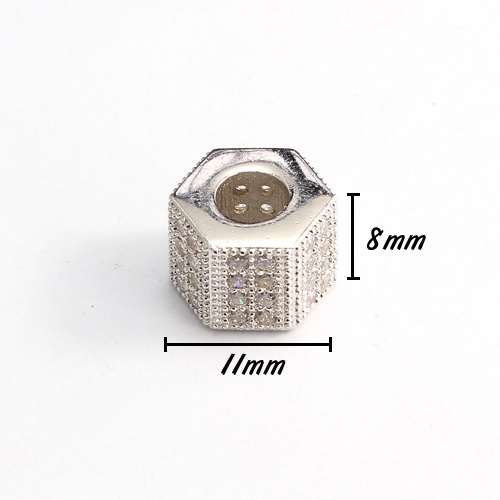 Cubic Zircon Pave Hexagonal bead, 8x10x11mm, hole: 5mm, 18k platinum plated, No glue and nickel free, 1 pcs