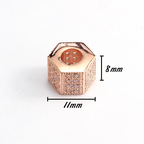 Cubic Zircon Pave Hexagonal bead, 8x10x11mm, hole: 5mm, rose gold plated, No glue and nickel free, 1 pcs