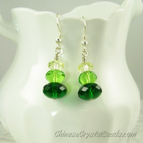 Chinese Crystal Earring handmade, 6mm clear+8mm green+10mm emerald, sold 1 pair