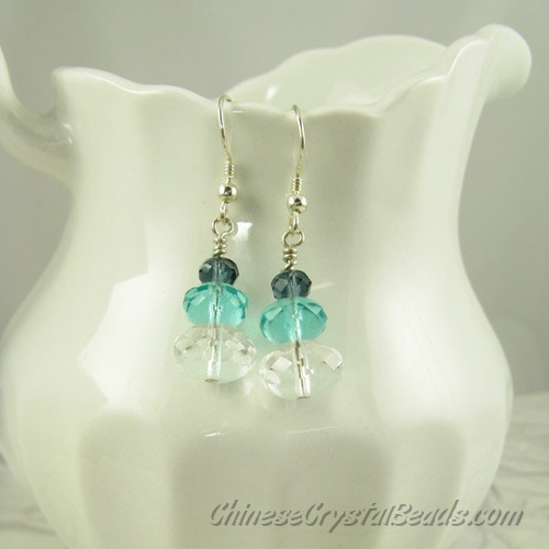 Chinese Crystal Earring handmade, 6mm Blue Ink+8mm aqua +10mm clear, sold 1 pair