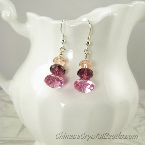 Chinese Crystal Earring handmade, 6mm rosaline+8mm amethyst+10mm pink, sold 1 pair