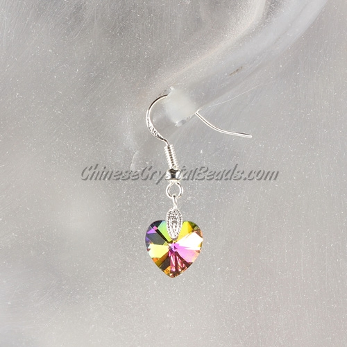 Chinese Crystal Earring handmade, 10mm heart, rainbow, sold 1 pair