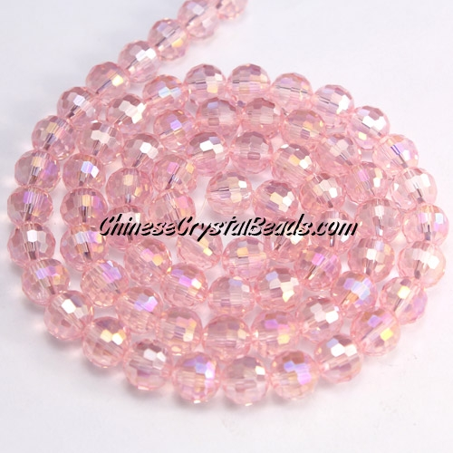 Chinese Crystal 8mm Round Bead Strand, Light pink AB , 96fa, 25 beads