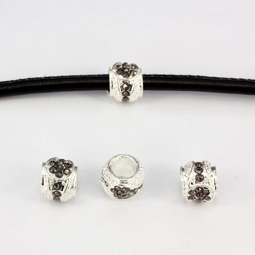 Alloy European Beads, #001, 11x9mm, hole:6mm, pave gunmetal crystal, silver plated, 1 piece