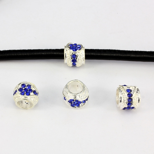 Alloy European Beads, #001, 11x9mm, hole:6mm, pave blue crystal, silver plated, 1 piece