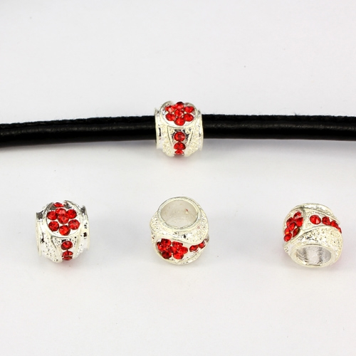 Alloy European Beads, #001, 11x9mm, hole:6mm, pave red crystal, silver plated, 1 piece