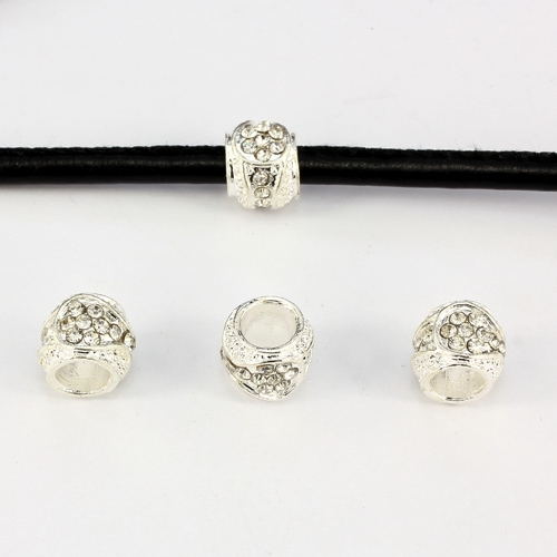 Alloy European Beads, #001, 11x9mm, hole:6mm, pave clear crystal, silver plated, 1 piece