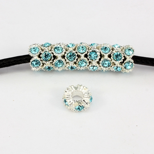 Alloy European Beads, flower, 5x13mm, hole:5mm, pave aqua crystal, silver plated, 1 piece