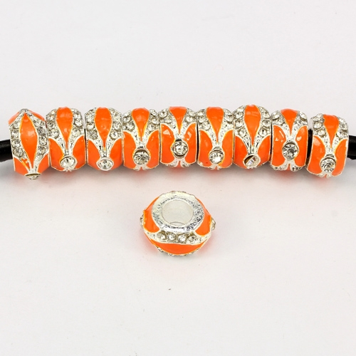 Alloy European Beads, rondelle, 7x14mm, hole:5mm, pave clear crystal, orange painting, silver plated, 1 piece