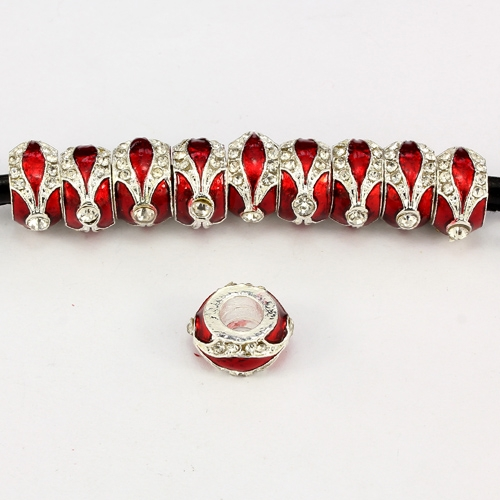 Alloy European Beads, rondelle, 7x14mm, hole:5mm, pave clear crystal, red painting, silver plated, 1 piece