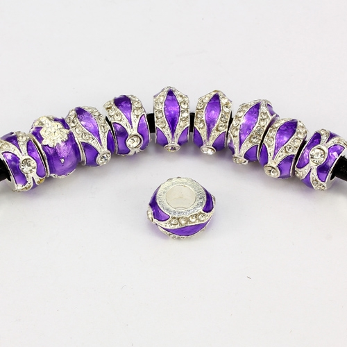 Alloy European Beads, rondelle, 7x14mm, hole:5mm, pave clear crystal, purple painting, silver plated, 1 piece