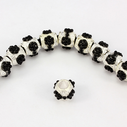 Alloy European Beads, #002, 10x13mm, hole:5mm, pave black bead, silver plated, 1 piece