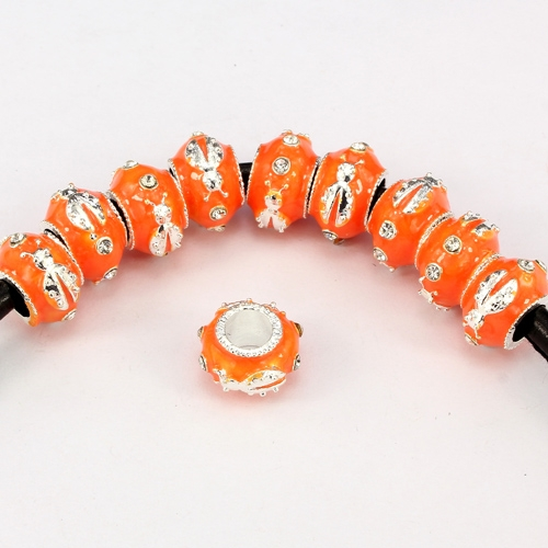 Alloy European Beads, beetle, 9x13mm, hole:6mm, pave clear crystal, orange painting, silver plated, 1 piece