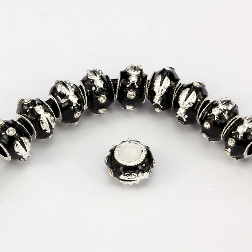 Alloy European Beads, beetle, 9x13mm, hole:6mm, pave clear crystal, black painting, silver plated, 1 piece