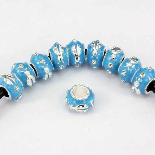 Alloy European Beads, beetle, 9x13mm, hole:6mm, pave clear crystal, aqua painting, silver plated, 1 piece