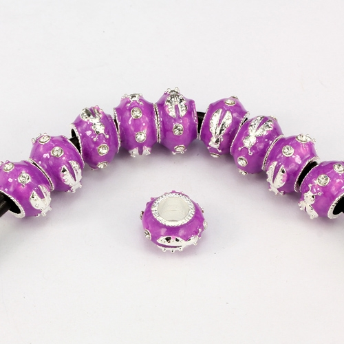 Alloy European Beads, beetle, 9x13mm, hole:6mm, pave clear crystal, purple painting, silver plated, 1 piece