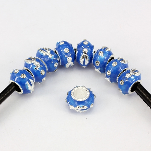 Alloy European Beads, beetle, 9x13mm, hole:6mm, pave clear crystal, blue painting, silver plated, 1 piece