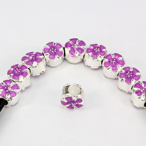 Alloy European Beads, flower, 9x10x11mm, hole:5mm, purple painting, silver plated, 1 piece