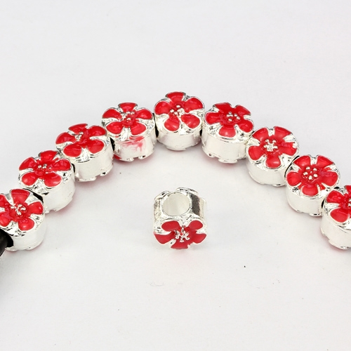 Alloy European Beads, flower, 9x10x11mm, hole:5mm, red painting, silver plated, 1 piece