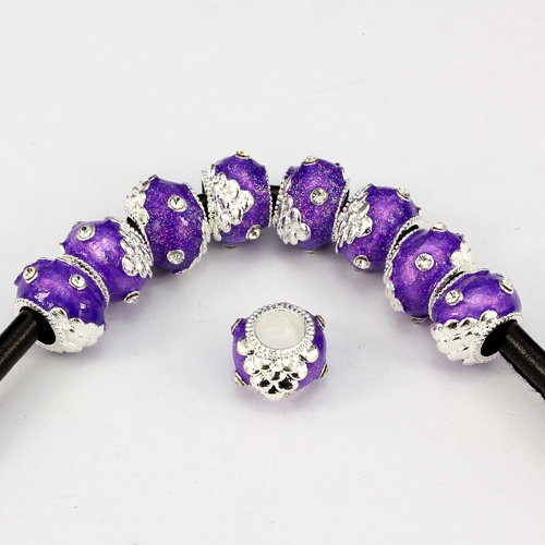 Alloy European Beads, rondelle, 9x13mm, hole:6mm, pave clear crystal, purple painting, silver plated, 1 piece