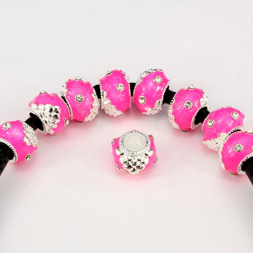 Alloy European Beads, rondelle, 9x13mm, hole:6mm, pave clear crystal, pink painting, silver plated, 1 piece