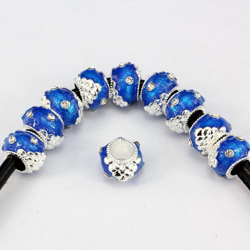 Alloy European Beads, rondelle, 9x13mm, hole:6mm, pave clear crystal, blue painting, silver plated, 1 piece