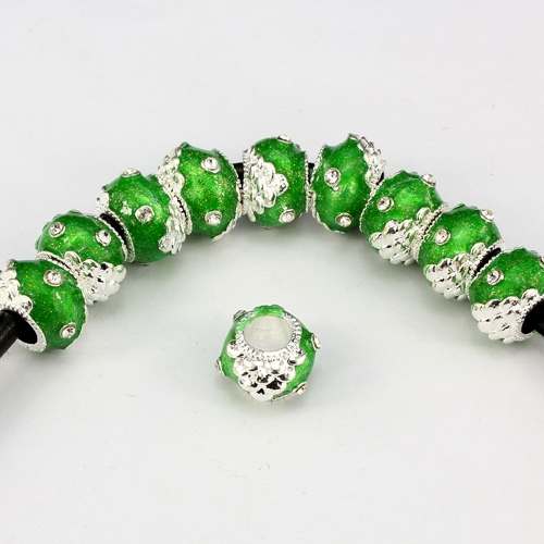 Alloy European Beads, rondelle, 9x13mm, hole:6mm, pave clear crystal, green painting, silver plated, 1 piece