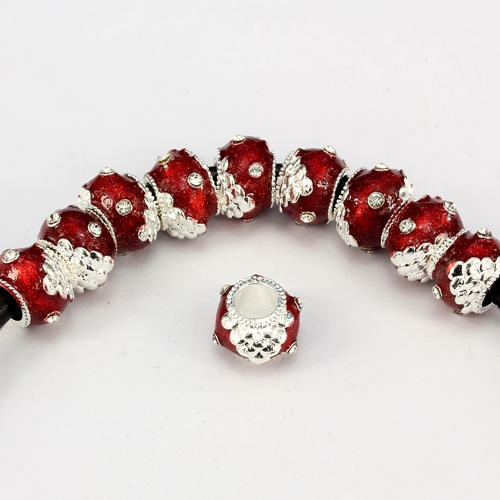 Alloy European Beads, rondelle, 9x13mm, hole:6mm, pave clear crystal, red painting, silver plated, 1 piece