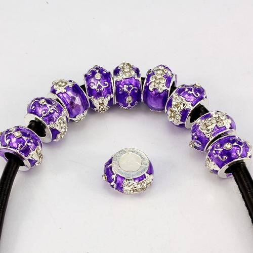 Alloy European Beads, cross, 8x13mm, hole:6mm, pave clear crystal, purple painting, silver plated, 1 piece