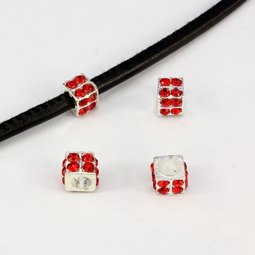 Alloy European Beads, square, 6x10mm, hole:5mm, pave red crystal, silver plated, 1 piece