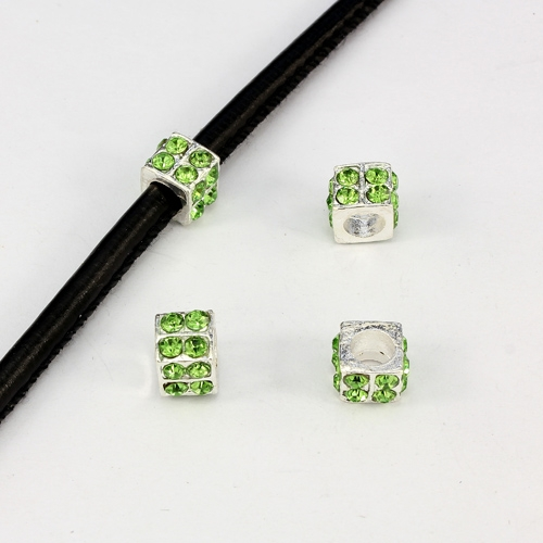 Alloy European Beads, square, 6x10mm, hole:5mm, pave green crystal, silver plated, 1 piece