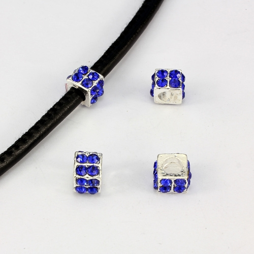 Alloy European Beads, square, 6x10mm, hole:5mm, pave blue crystal, silver plated, 1 piece
