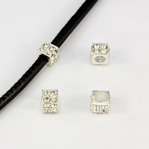 Alloy European Beads, square, 6x10mm, hole:5mm, pave clear crystal, silver plated, 1 piece
