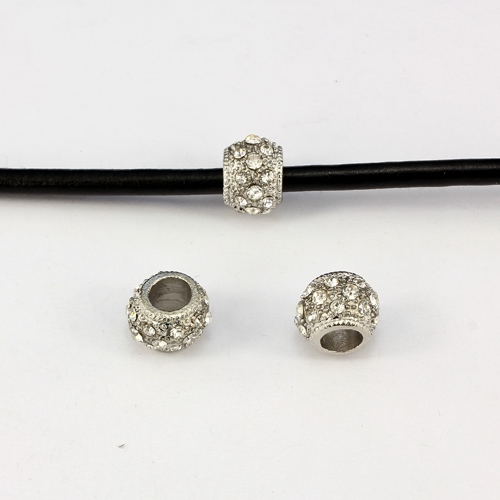 Alloy European Beads, #010, 8x11mm, hole:5mm, pave clear crystal, platinum plated, 1 piece