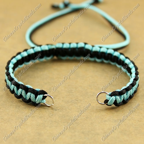 Pave chain, black and aqua wide : 7mm, length:14cm