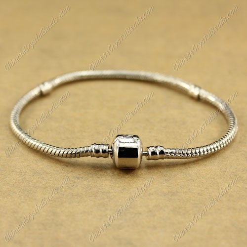 1pcs, Silver plated,Snake Chain Bracelet, Fit European Charm Beads (Stamped Clasp)
