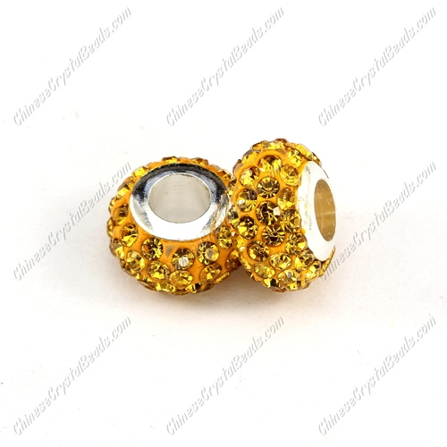 Pave Crystal European Beads, clay base, sun, 7x12mm, hole: 5mm, 9 pieces