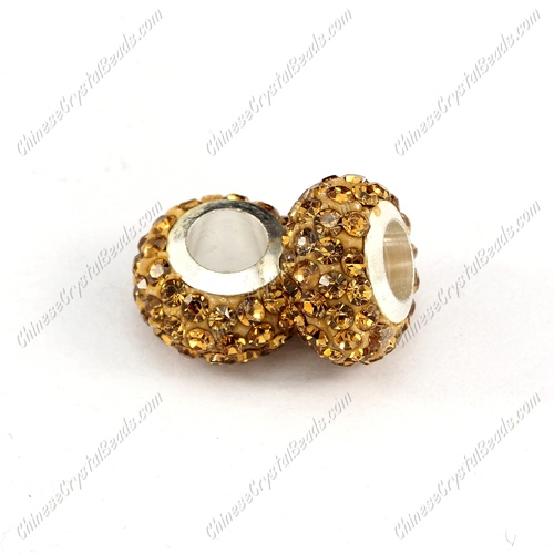 Pave Crystal European Beads, clay base, champagne, 7x12mm, hole: 5mm, 9 pieces