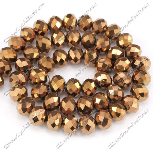 Chinese Crystal Rondelle Bead Strand, Copper, 6x8mm ,about 72 beads