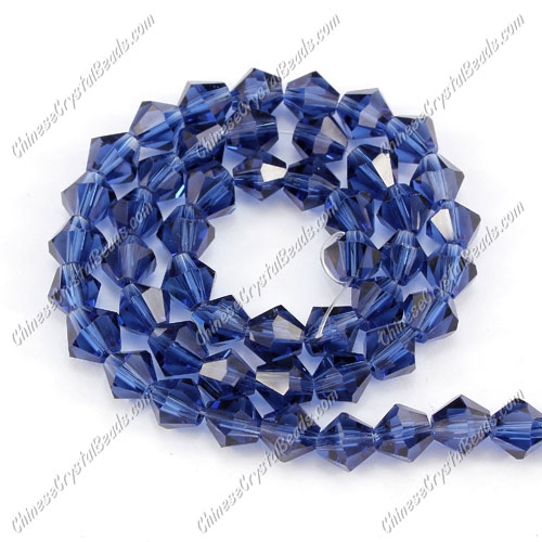 Chinese Crystal Bicone bead strand, 6mm, Blue-ink II, about 50 beads