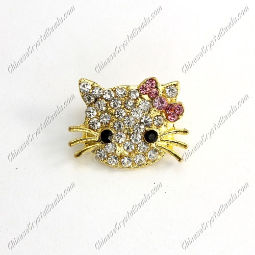 Pave Crystal Cat head charms, 16x21mm, hole: 2mm, gold plated, purple bowknot, sold 1pcs