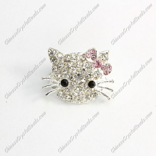 Pave Crystal Cat head charms, 16x21mm, hole: 2mm, silverplated, pink bowknot, sold 1pcs