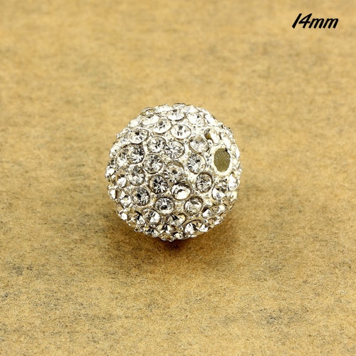 Alloy pave disco beads, 14mm, silver plated, 128cz , sold per pkg of 9 pcs