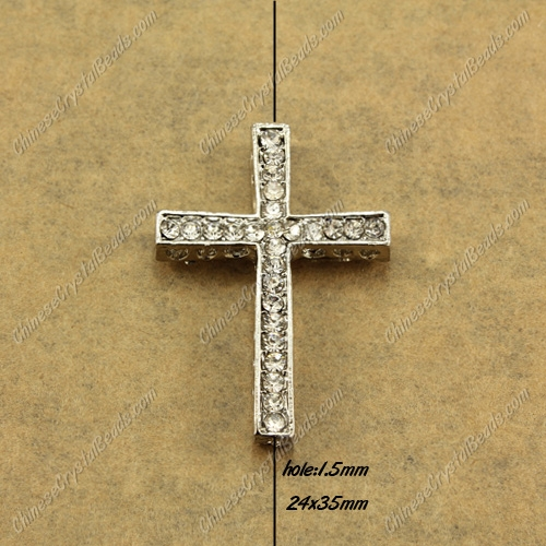 alloy Pave cross Charms, 24x35mm, hole: 1.5mm, platinum plated alloy, 1pcs
