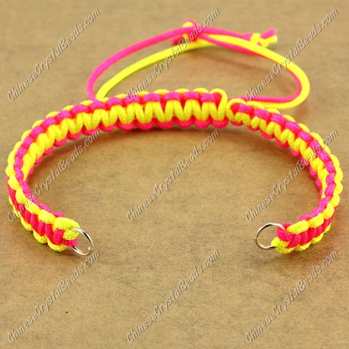 Pave chain, nylon cord, neon yellow and neon fuchsia, wide : 7mm, length:14cm