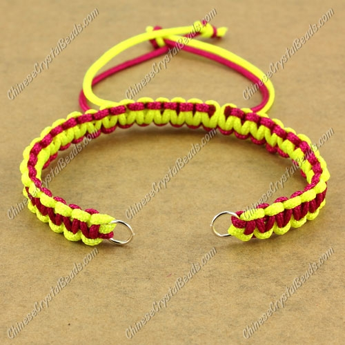 Pave chain, nylon cord, ruby and neon yellow, wide : 7mm, length:14cm