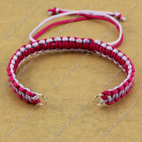 Pave chain, nylon cord, lt-violet and ruby, wide : 7mm, length:14cm