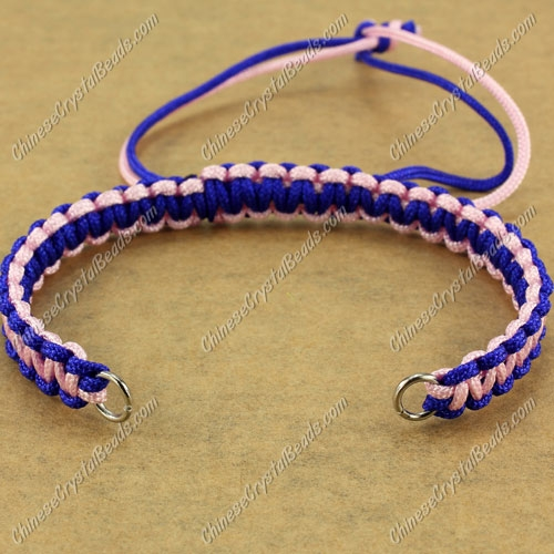 Pave chain, nylon cord, sapphire and pink, wide : 7mm, length:14cm