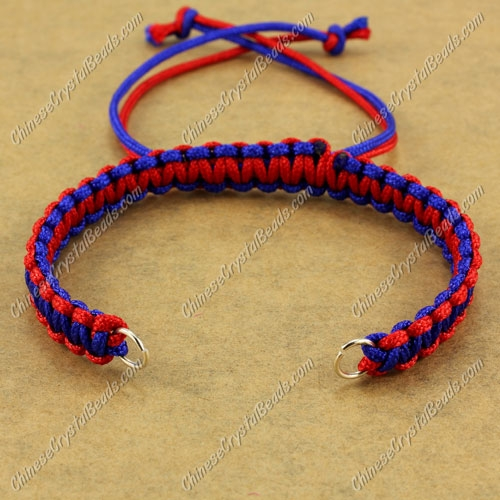 Pave chain, nylon cord, red and sapphire, wide : 7mm, length:14cm